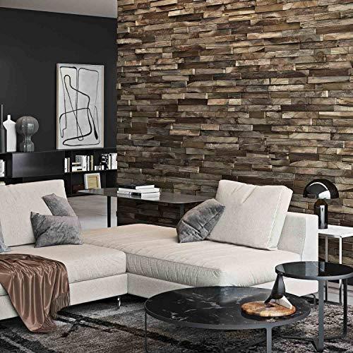 Holz Wandverkleidung mit 3d Paneelen aus verwittertem, recyceltem Holz von Nordje® (Elvar | Teak) - 2