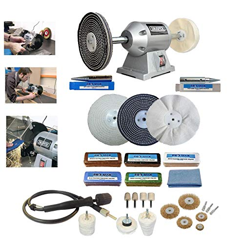 Draper 6  250W Bench Grinder with Pro-Max 6  Deluxe Metal Polishing Kit