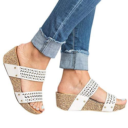 Gibobby Espadrilles Sandals for Women Elastic Women's Elastic Strappy String Thong Ankle Strap Summer Gladiator Sandals White
