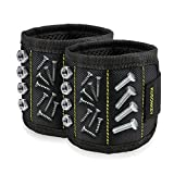 Magnetic Wristband, [2-Pack] KUSONKEY Tool Belt with 15 Powerful Magnets for Holding Screws/Nails/Drill Bits, Versatile Christmas Gift for Men/Father/Dad/DIY Handyman/Electrician/Husband/Boyfriend