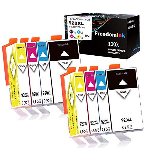 FreedomInk Cartuchos de tinta compatibles con HP 920XL 920 (8 unidades, 2 negros, 2 cian, 2 magenta, 2 amarillos) de gran capacidad compatibles con HP Officejet 6500 6500A 6000 7000 7500 7500A