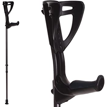 ErgoTech Lightweight Forearm Crutches By FDI (Size: 4'4-6'7) 1 Pair/2 Crutches Black