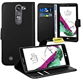 LG Magna / LG G4C Handy Tasche, FoneExpert® Wallet Hülle Flip Cover Hüllen Etui Ledertasche Lederhülle Premium Schutzhülle für LG Magna / LG G4C (Schwarz)