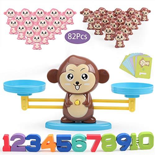 Juguete de Matemáticas, 82 pcs Monkey Digital Scales Balance Tarjetas de Matemáticas Bloque Digital Juego Educativo Juegos de Matemáticas Regalo para Niños y Niñas (Brown Monkey)