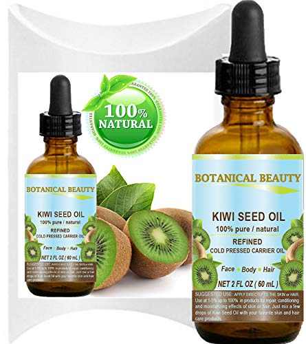 KIWI SEED OIL. 100% Pure Natural Undiluted Virgin Cold Pressed Carrier Oil. 2 Fl.oz.- 60 ml for Face, Skin, Body, Hair, Nail Care. by Botanical Beauty
