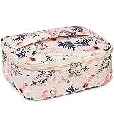 Travel Makeup Bag Large Cosmetic Bag Make up Case Organizer for Women and Girls (Beige Bird)