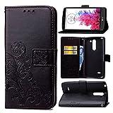 pinlu Funda para LG G3 Stylus Función de Plegado Flip Wallet Case Cover Carcasa Piel PU Billetera Soporte con Trébol de la Suerte Negro