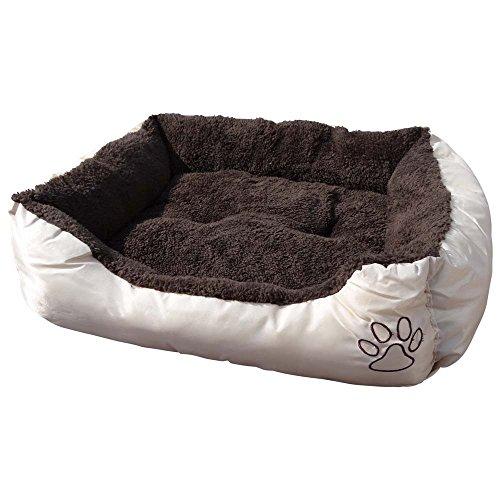 Waschbares Flauschi Tierbett mit Kuscheleinlage für Hund, Katze & Haustier, Größe XL in 90 x 70 x 20cm, innen braun, außen beige inkl. Fressnapf