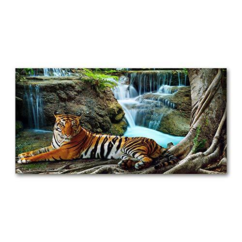 Tulup Glas-Bild Wandbild aus Glas - Wandkunst - Wandbild hinter gehärtetem Sicherheitsglas - Dekorative Wand für Küche & Wohnzimmer 120x60 - Tiere - Tiger Wasserfall - Braun