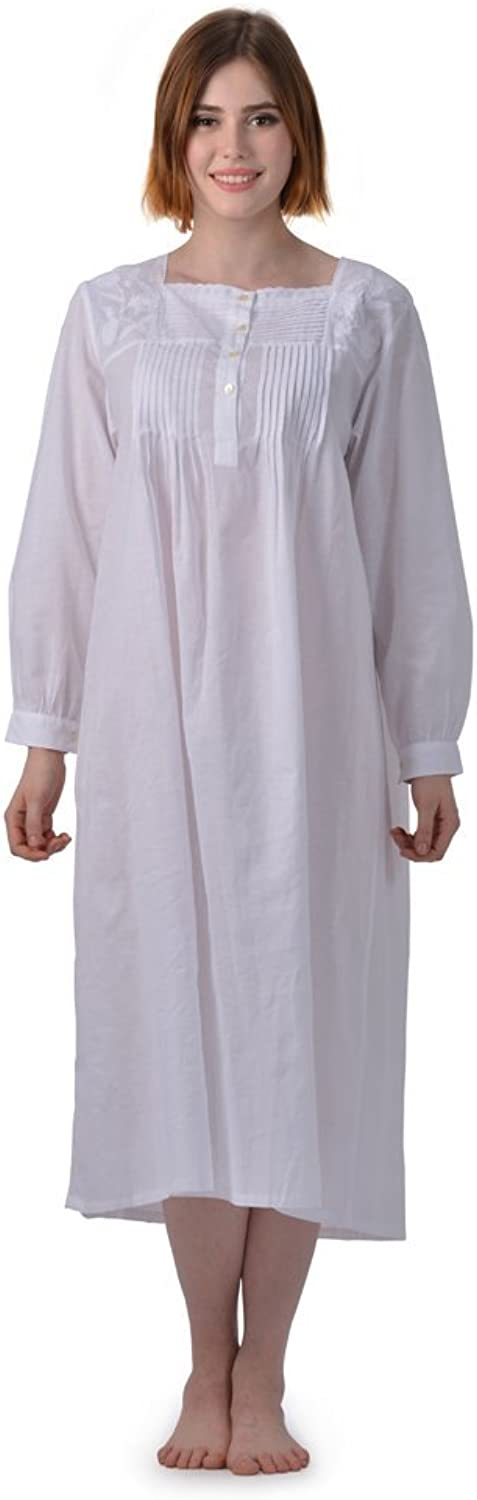100% Cotton Embroidered Long Sleeve Nightgown for Women
