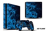 247Skins Designer Decal for PlayStation 4 SLIM System plus Two (2) Decals for PS4 Dualshock Controller - Ice Flame
