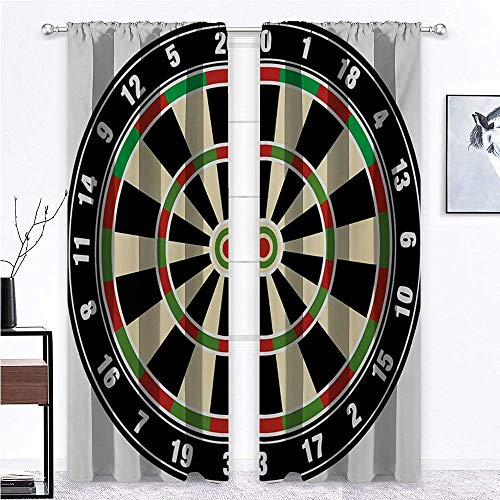 """Bedroom Curtain Sports Soundproof Window Curtain Panels Dart Board Numbers Sports Accuracy Precision Target Leisure Time Graphic for Studyroom Vermilion Green Black 2 Rod Pocket Panels, 27""""W x 45""""L"""