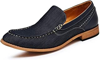 HXSD Denim Casual Lightweight Non-Slip Soles Slip Wood-Like Men's Boat Shoes Slip Round (Color : Blue, Size : 7.5 UK)