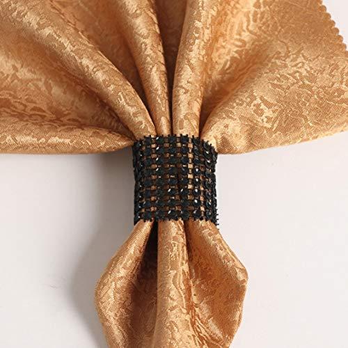 50Pcs Diamond Mesh Wrap Gold Chair Sash Napkin Ring Bling-Bling Party Supply