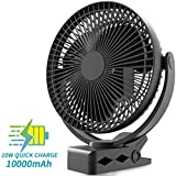 KOONIE 10000mAh Clip on Fan Battery Operated, USB Fan with Clip, 8-Inch Portable Desk Fan with 4 speeds and 24 Hours Working Time for Office Golf Car Outdoor Travel Baby Stroller Camping Tent