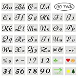 40 plantillas de números de letras para pintar sobre madera, 80 diseños de plantillas para manualidades, plantillas de alfabeto de plástico reutilizables con números y signos