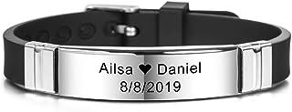 MeMeDIY Personalized Bracelet Engraving Names Silicone Sport Wrist Identification ID Tag Bracelet Customized for Men Women Kids Stainless Steel Rubber Adjustable 13mm Wide