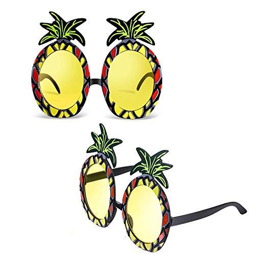 Yongbest Ananas Brillen Neuheit Brillen,2 Stück Tropical Ananas Sonnenbrille Hawaii Luau Party Supplies für Thematische Sommerfoto Requisiten Partyzubehör
