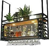 Botelleros de techo con estante para botellas de soporte de copa de vino,...