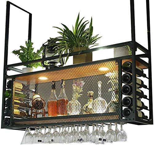 Botelleros de techo con estante para botellas de soporte de copa de vino, estante de techo de soporte de vino de pared, estante colgante de metal de madera de cocina, soporte de Stemware