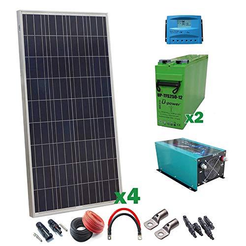Kit Solar 12v 600W/3000W día Regulador de carga PWM 40A Batería AGM TFS-250AH Inversor 3000w onda pura con cargador 50Ah