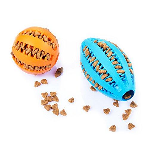 AMATHINGS Doppelpack (=2 Stück) Hundespielzeug Ball in Blau und Ei in Orange in Premiumqualität Snackball (7 cm) und Rugbyball (11 cm) zur Zahnpflege und Spiel