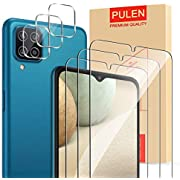 PULEN [3 Pack ] Screen Protector and [3 Pack] camera lens protector for Samsung Galaxy A12 [Bubble Free][Anti-Fingerprint][Scratch Resistance][HD]Tempered Glass Film