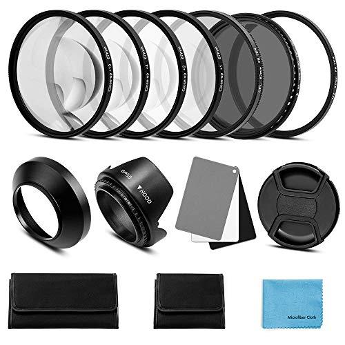 Fotover 58mm Objektiv Filter Kit:UV CPL-Polarisation Einstellbare ND Filter ND2-ND400 Nahlinsen Filter Set +1,+2,+4,+10 Gegenlichtblende Graukarte kompatibel Canon Nikon Sony Olympus Fuji Kamera