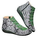 ELECTRI - Manteau Bottes Classiques Femme Chaussures en Cuir Plat décontracté pour Femmes Rétro Lace-up Boots Plateform Zipper Round Toe Shoe Boots
