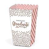 Big Dot of Happiness Rose Gold Grad - 2021 Graduation Party Favor Popcorn Treat Boxes - Set of 12