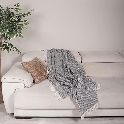 Große natürliche Baumwoll-Strickdecke für Sofa, Couch, Sessel, Bett, Bauernhaus & Wohnkultur I Tagesdecke 170 x 200 cm, Anthrazit