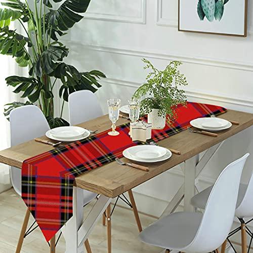 Reebos Camino de mesa de lino para aparador, camino de mesa de cocina Royal Stewart Tartan para cenas de granja, fiestas de vacaciones, bodas, eventos, decoración – 33 x 70 pulgadas