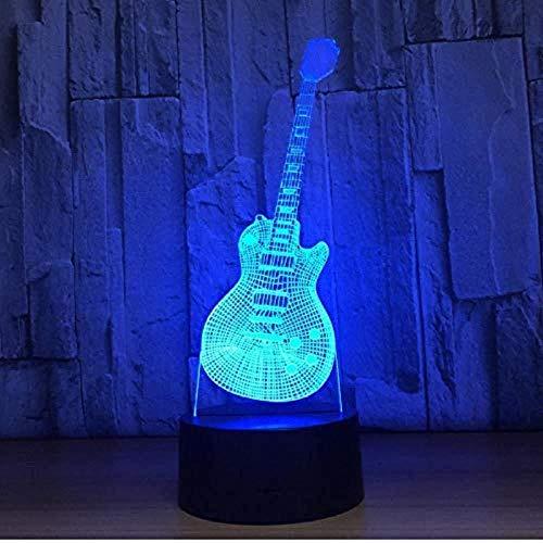 3D nachtlampje gitaar vorm muziekinstrumenten lamp 7 kleuren 3D LED USB 3D bedlampje wooncultuur voor kinderen jaar geschenk 3D visuele illusie lamp