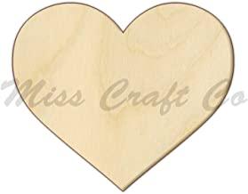 Heart Wood Shape Cutout, Wood Craft Shape, Unfinished Wood, DIY Project. All Sizes Available, Small to Big. Made in the USA. 7 X 7 INCHES