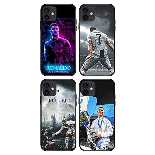 LXIAOWEI Caso del teléfono Ronaldo (4pcs) para iPhone 7/8 / SE2020, Juventus F.C.TPU, no se desvanece, Regalo para Novia, Anti-otoño, Pintado, decoración