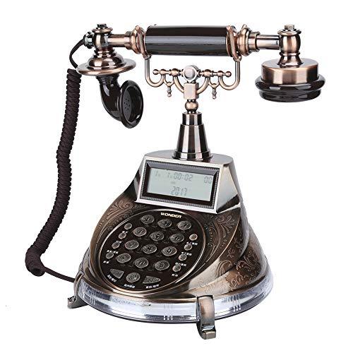 214 Teléfono Vintage, teléfono Fijo Retro de Estilo Europeo con Tonos de Llamada/identificador de Llamadas de Sistema Dual DTMF y FSK/visualización de Fecha y Semana/función de Alarma
