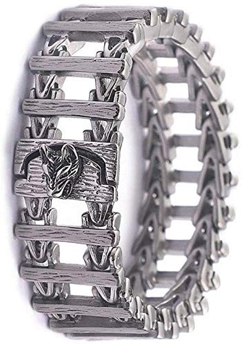 Wolf Head Large Thick Bracelet Handmade Chain Heavy Stainless Steel Vintage Norse Runes Pagan Amulet Arm Rings Jewelry