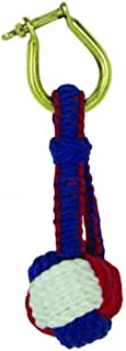 Nautical Monkey Fist Knot Key Chain Red White & Blue