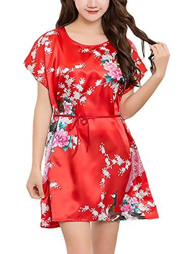 Pijamas Mujer Corto Verano Manga Corta Cuello Redondo Elegante Vestido Pijama Niñas Ropa Homewear Moda Impresión Floral Casuales Baño Confort Camison Cinturón (Color : Rojo, Size : One Size)