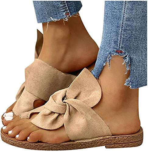 Xnhgfa Women Orthotic Sandals Bunion Flat Sandals with Arch Support Flip Flops Outdoor Toe Post Bow Knot Sandal Comfy Platform Toe Sandals Beach Shoes,Khaki,37