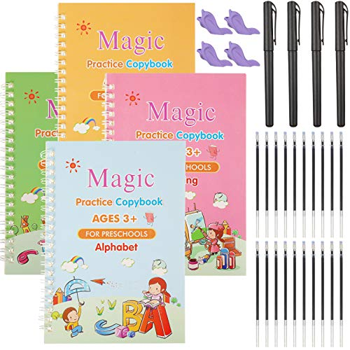 4 Pieces English Magic Practice Copybook Kids Reusable Calligraphy Copybook Handwriting Workbook for Preschoolers Number Alphabet Drawing Math Tracing Book Writing Paste Board with 4 Pens, 20 Refills