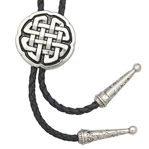 RechicGu Vintage Silber Western Celtic Trinity Kreuz Knoten Leder Rodeo Hochzeit Krawatte Bola Bolo Krawatte