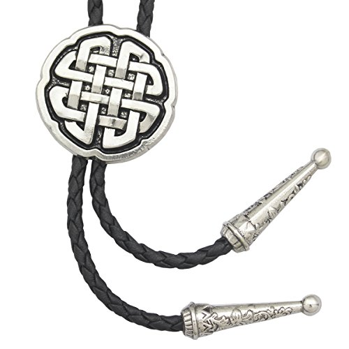 Vintage Silver RechicGu Western Celtic Trinity Cross Knot Leather Rodeo Wedding Necktie Bola Bolo Tie