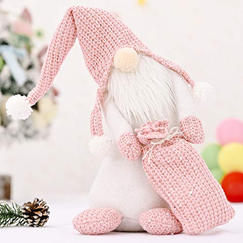 Niu-Man Knitted Crooked Neck Doll Faceless Doll Santa Gift Bag Ornaments Christmas Tree Toy Holiday Party Decor Kids Gift (pink)