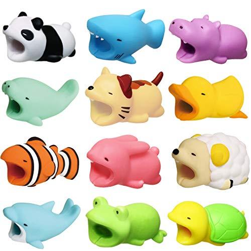 Newseego Kabel Schutz Ladegerät Saver Kabel Chevers Kabel Niedlich Tier Kabel Schützt - 12 Pack(Hai, Panda, Clownfisch, Ente, Kätzchen, Schildkröte, Nilpferd, Hase, Schaf, Delphin, Frosch, Seekuh)