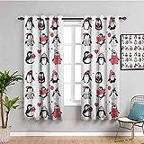 Azbza Cortinas opacas para sala de estar, diseño de pingüino...