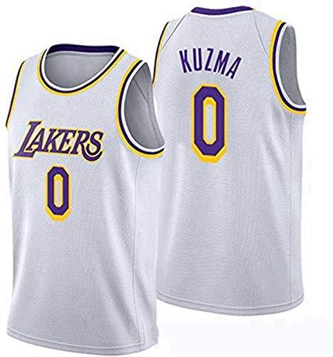 Kyle Kuzma # 0 Baloncesto para Hombre Jersey NBA Los Angeles Lakers, Malla de Baloncesto Menalla Swingman Jersey Sin Mangas Sport Chaleco Top (Color : White, Size : Large)