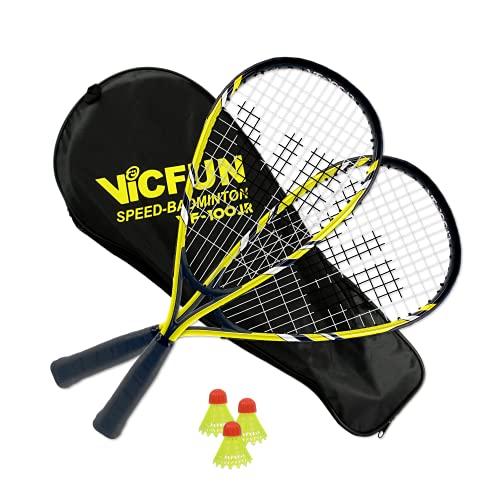 VICFUN Unisex– Erwachsene 100 Speed Badminton Set, Gelb-Schwarz, Keine