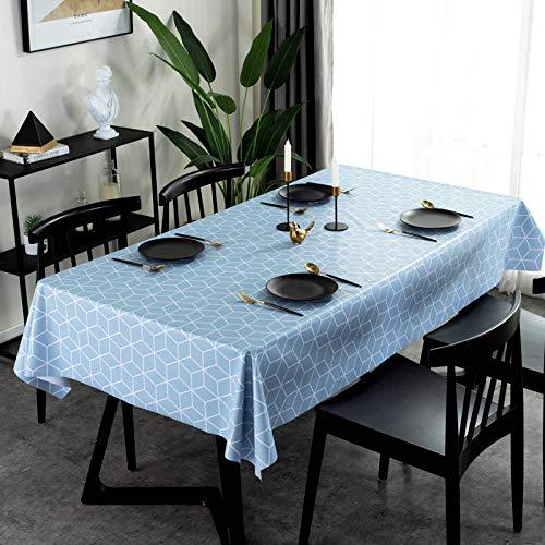Kuingbhn Mantel de Mesa Rectangular Impermeable Resistente Al Desgaste No Es Fácil de Desvanecer Lavables Antimanchas para Decoración de La Mesa de Comedor Azul Claro 140×220cm