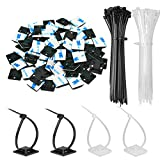 140 Pack Zip Tie Adhesive Mounts Self Adhesive 3M Cable Tie Base Holders with Multi-Purpose Tie wire clips with screw hole,Anchor stick on wire holder with White and Black